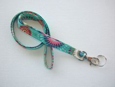 Skinny Lanyard  ID Badge Holder  teal flower medallions  by Laa766 chic / cute / preppy / fabric / patterned / accessories / for you, co-worker or school gifts / home, office decor