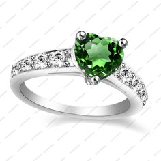 Heart Shape Green Peridot White Gold Plated 925 Silver Solitaire W/ Accents Ring