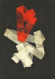 Hermann Glöckner - Auf Schwarz (Paper Collage), 1933