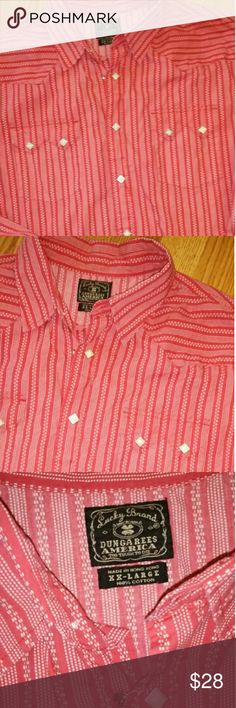 Lucky Snap Down Shirt Excellent condition Worn once for pictures Red & White XXL  2X Lucky Brand Shirts Casual Button Down Shirts