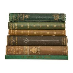 Set of 1800s Emerald Green & Brown Old Books for Decor Book