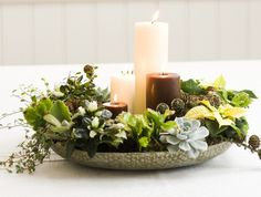 Long lasting holiday arrangement, great look! Christmas Flower Decorations, Christmas Arrangements, Christmas Flowers, Green Christmas, Christmas Is Coming, Christmas Holidays, Estilo Interior, Advent Candles, Succulents In Containers