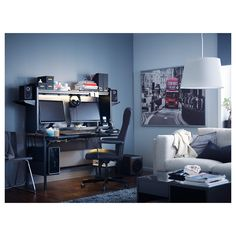 FREDDE Desk, black, 72 How do you make the perfect gaming station? That's what we set out to do with FREDDE desk by researching competitive gaming and enlisting a gamer designer of our own. Black Desk, Ikea Co, Buy Desk, Ikea Desk, Flatscreen, Home Desk, Gamer Room, Small Shelves, Room Setup