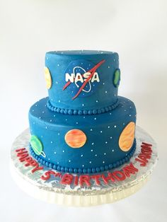 NASA themed birthday cake - buttercream iced cake with fondant planets - planet cake, space cake