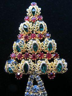 Vintage Hobe 65 Christmas Tree Rhinestone Pin Signed Red Green Mad Men Era Rare