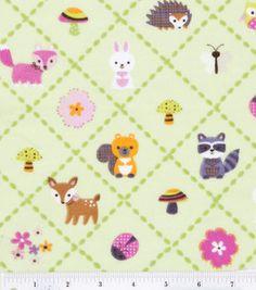 Nursery Flannel Fabric- Forest Animals Diagonal: fabric: Shop | Joann.com