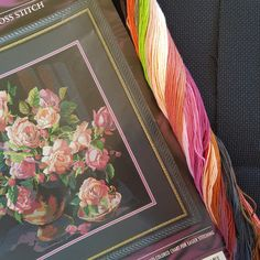 Rare large Bucilla Classic Roses cross stitch kit on black aida by Nancy Rossi of Kooler Design Studio - 14 count by KindredClassics on Etsy Easy Stitch, Stitch Kit, Stool Covers, Cross Stitch Rose, Needlepoint, Count, Roses, Studio, Canvas