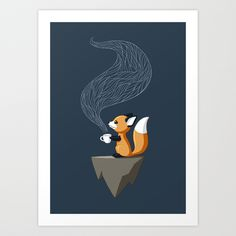 Fox Tea Art Print