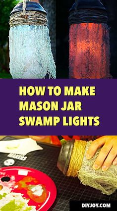 Cool Mason Jar Ideas for Halloween DIY Decor - How to Make Swamp Lights for Outdoor Yard Decorations at Halloween -DIY Halloween Decor Ideas for Front Yard -- Spooky and Creepy Yard Decor Ideas via @diyjoycrafts Yard Decorations, Diy Halloween Decorations, Halloween Fabric, Halloween Diy, Easy Diy Crafts, Fun Crafts, Solar Mason Jars, Mason Jar Projects, Acrylic Craft Paint