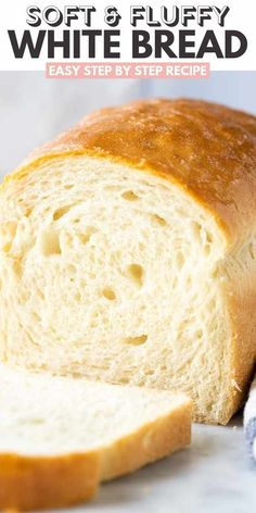 This White Bread recipe is a classic you'll want to keep on hand. So light, fluffy and incredibly soft. Everyone will think it came right from the bakery! No matter what you use it for, whether its prepping school lunches, making yourself a snack, or serving it as your dinner side, you'll be in sliced bread heaven. Bread Maker Recipes, Easy Bread Recipes, Baking Recipes, Sliced Bread Recipes, White Bread Recipes, Breadmaker Bread Recipes, Easy Bread Machine Recipes, Kitchen Aid Recipes, Cornbread Recipes