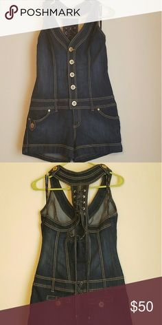 XOXO Jean's Romper Dark blue heavy jean material. Lace up racer back design. Never worn. XOXO Shorts Jean Shorts