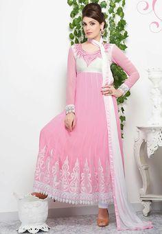 Light Pink Color Georgette Fabric Designer Anarkali Suit With Off White  Color Santoon Fabric Bottom   Off White Color Chiffon Dupatta 2b769851c