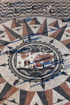 Portuguese Pavement Map Lisbon, near the Monument to the Discoveries