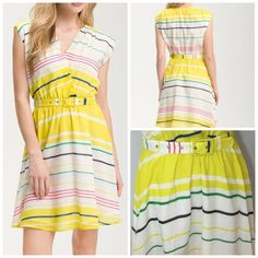 """PRESLEY SKYE Yellow Sloane Belted Stripe Dress Narrow candy stripes sweeten a sunny yellow-and-white belted dress cut from a fine blend of cotton and silk. Slips on over head with a snap at v-neck. Elastic waist and Fully lined 70% Cotton 30% silk; liner is 100% cotton. dry clean.  Approx flat measurement 34.5"""" length 17"""" across shoulders 16"""" across bust 12"""" waist (elastic not stretched) great condition but may have some fine wrinkles in fabric that can be flattened with dry cleaning Presley…"""