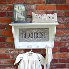 Distressed White wall Shelf with Family name by HopeSpringsDecor