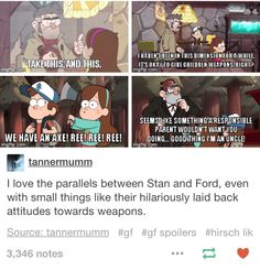True. I noticed that with Stan and Ford, that they're both nonchalant about rather dangerous things.