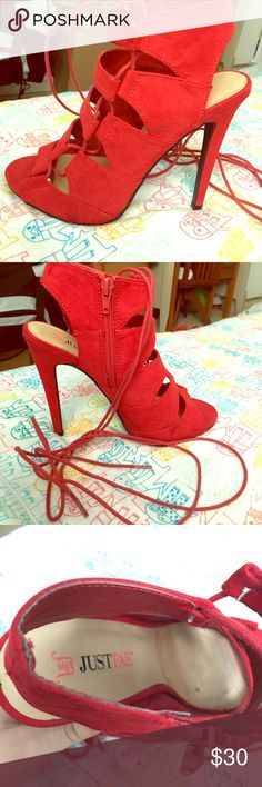Just fab red heels! Lace up size 7 just fab heels! Beautiful condition only worn once JustFab Shoes