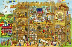 """This bright and busy children's wooden floor puzzle will delight children for hours! Featuring an amazingly detailed castle scene, it is jam packed with vivid characters and activities, ensuring there is plenty to look at and talk about. It is ideal for developing imagination, coordination and dexterity.24 pieces (each measuring5.5"""" x 4.5"""") Puzzle size: is 23.5"""" x 16.75""""For ages 2 - 3+Released 2012"""