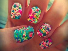 paint splatter nails/ nail art