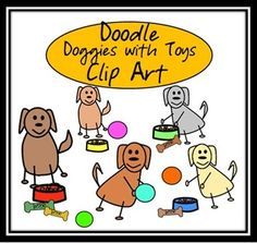 Doodle Dogs and Toys Clip Art {FREE}