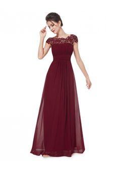 Edles langes Spitze Abendkleid in Bordeaux Rot - online bestellen bei vipdress.de