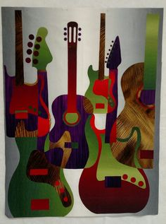 Robbi Joy Eklow Groovy Guitars Reboot pattern Lap Quilts, Scrappy Quilts, Small Quilts, Guitar Patterns, Landscape Art Quilts, Saint Nicolas, Applique Quilt Patterns, Artist Card, Quilt Modernen
