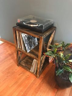 Dark Walnut Rustic Record Player Stand - X Cross Bar Feature, Record Shelves