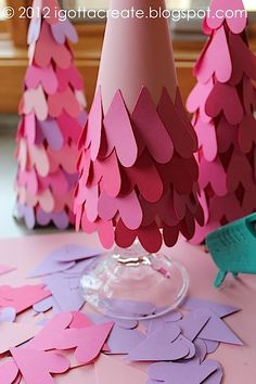 paper heart trees for valentines day. These are so cute!