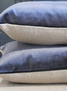 Navy velvet and linen cushion