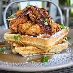 - Fried Chicken Over Homemade Belgian Waffles Stack, all Topped with Bacon! . LIKE if You LOVE Waffles!  @foodie_adam . #CheatMeal #meal #foodie #foodporn #igers #instagood #amazing #delicious #foodgasm #beautiful #food #instafood #yum #dinner #lunch #belgianwaffles #friedchicken #bacon #breakfast #homemade #stack