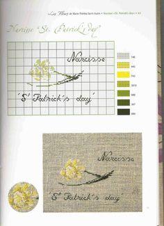 0 point de croix grille et couleurs de fils fleur narcisse st patrick's day par marie therese st aubin