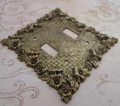 Switch Plate Vintage 1970s Metal Light Switch Cover by TheBeadSource - $15.00