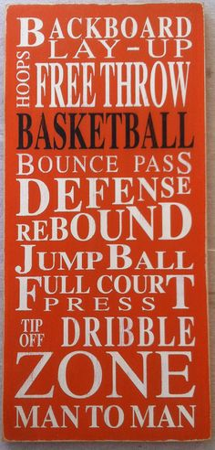 Basketball - Typography Word Art in Orange Using words associated with the sport of basketball, I created this unique piece of art. Completely hand painted on a quality pine board, this sign is ORANGE with WHITE and BLACK letters. It is then distressed and antiqued for an aged, vintage finish. We make no attempt to cover natural wood markings, knots etc. as we feel this adds to the character of the sign. It has a sawtooth hanger attached for easy hanging. Since this sign is hand painted and…