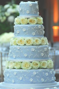 Wedding Magazine - Wedding Cakes - Traditional Cakes  -  just adore the light blue color with the yellow roses and the touch of little white flowers!