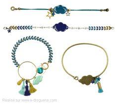 La tête dans les nuages... Découvrez le nouveau it bijou, Mes bracelets ''Cosmique''. Un assortiment de bracelets étoilés dans les tons Pétrole, faciles à réaliser. #ladroguerie #bijoux