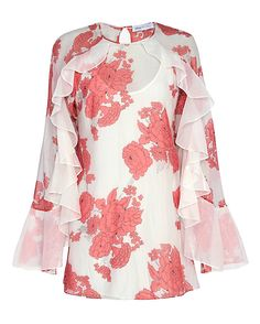 Alice McCall Delilah Print Ruffle Dress: This dress is full of feminine charm as it comprises a floral print and ruffles that begin at the shoulders and work their way on the long sleeves. Button loop closure at nape of keyhole back. Lined. In white/pink. Fabric: 70% cotton/30% silk Lining: ...