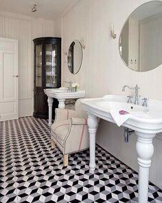 Nuevo Estilo - bathrooms - black and white marble floor, black and white marble tiled floor