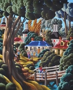 'Down by the River - Washing Day'' ~ George Callaghan Art And Illustration, Irish Art, Naive Art, Altered Art, Art Pictures, Cute Art, Landscape Paintings, Folk Art, Art Photography