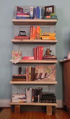 Genius! Use a door to hang shelves... Beautiful!!!  Wilbur - Antique Door Bookshelf (FREE SHIPPING)