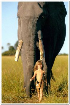 One of many fantastic pictures from Tippi's childhood. Born in Namibia, where her parents, Alain Degré and Sylvie Robert, worked as wildlife photographers. While in Namiba, she befriended wild animals, including the 28-year old elephant Abu.