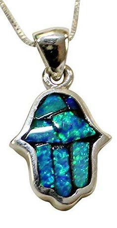 Modern Silver & Opal Hamsa Amulet Necklace - Chain 18 inch Pendant 5/8 inch H 1/2 inch W