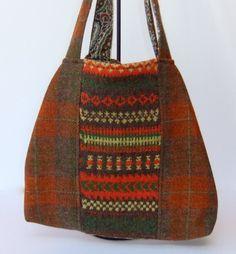 Harris tweed and fairisle slouchy bag in brown, orange and green £60.00