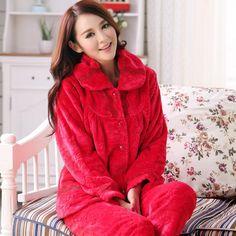 Thick warm winter pajamas women flannel pajamas female long-sleeved free home delivery Pyjamas, Fleece Pajamas, Flannel Pajamas, Pajamas Women, Womens Flannel, Delivery, Lounge, Warm, Female