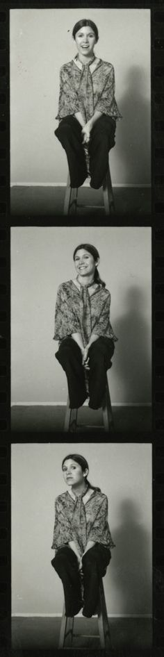 Carrie Fisher contact sheet from a 1977 Star Wars PR photo shoot. Such a fabulous, real, dorky girl.
