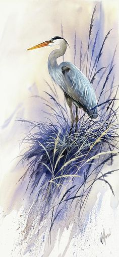 Herons Grace Painting - James Williamson - like the way color is applied behind the bird would make a good card