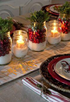 50 Most Beautiful Christmas Table Decorations – I love Pink - Christmas Decorations🎄 Christmas Mason Jars, Noel Christmas, Country Christmas, Winter Christmas, Christmas Crafts, Christmas 2019, Green Christmas, Outdoor Christmas, Cheap Christmas