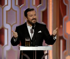 Ricky Gervais hosts the 2016 'Golden Globes Awards.'