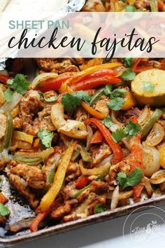I have an obsession with Mexican food. Everytime my family goes out to eat, that's the only thing I want. This easy recipe for Sheet Pan Chicken Fajitas lets me enjoy all of the spicy flavors I love...at home! Featuring colorful bell peppers, tender chicken, and a spicy homemade seasoning, this one pan recipe is a winner. #chickenfajitas #fajitas #sheetpanfajitas Spicy Chicken Recipes, Easy Chicken Dinner Recipes, Lunch Recipes, Mexican Food Recipes, Chicken Receipe, Turkey Recipes, Paleo Recipes, Yummy Recipes, Yummy Food