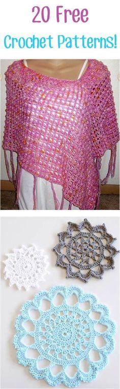 20 Free Crochet Patterns!! ༺✿ƬⱤღ https://www.pinterest.com/teretegui/✿༻