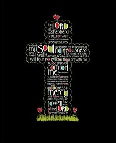 Scripture Art Psalm 23 cross Christian art by amyleeweeks Psalm 23, Scripture Quotes, Bible Scriptures, Bible Art, Bible Book, Christian Gifts, Christian Quotes, Christian Art, Christian Symbols
